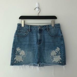 Pacsun Denim Mini Skirt with Floral Embroidery 28